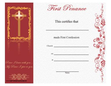 First Reconciliation Free Printable Certificate Love It