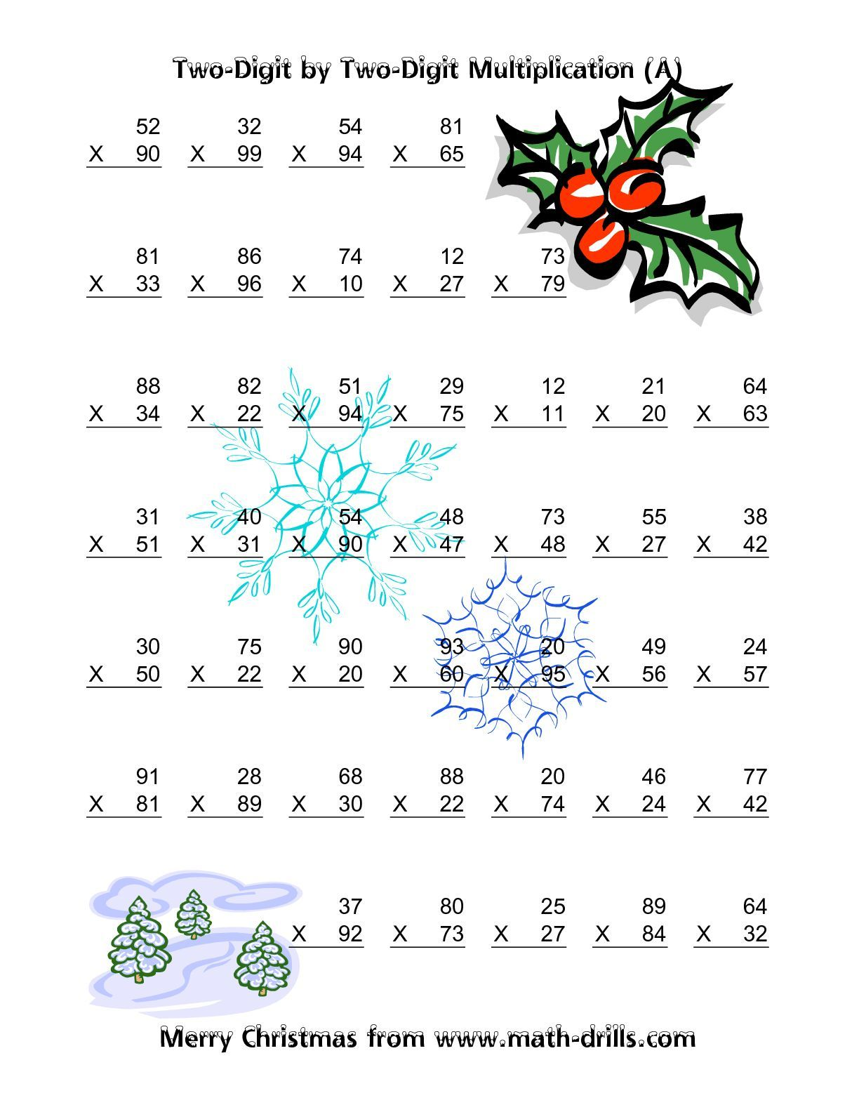 worksheet Free Christmas Math Worksheets multiplication two digit by vertical 49 per page a lily christmas math worksheet vertical