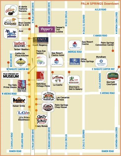 downtown palm springs map - Google Search | Palm Springs ...