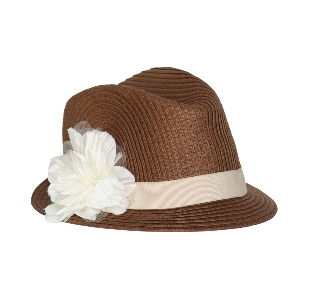 Born to Love Girl Straw Fedora Hat with Flower