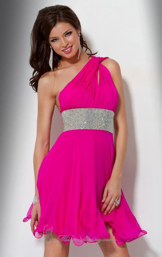glamorous JOVANI one-shoulder hot pink dress with silver crystal ...