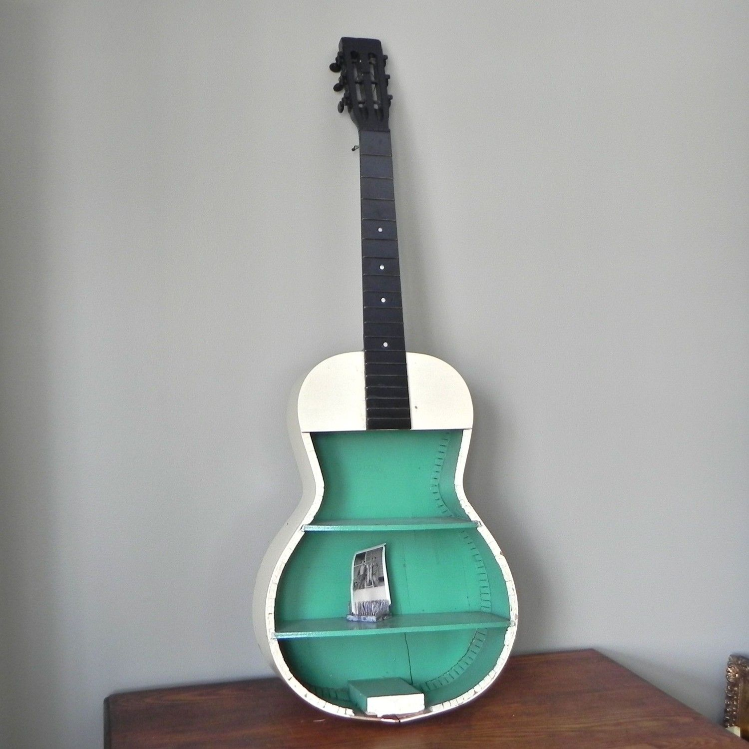 RESERVED FOR AndreaRawr Vintage guitar shelf painted green