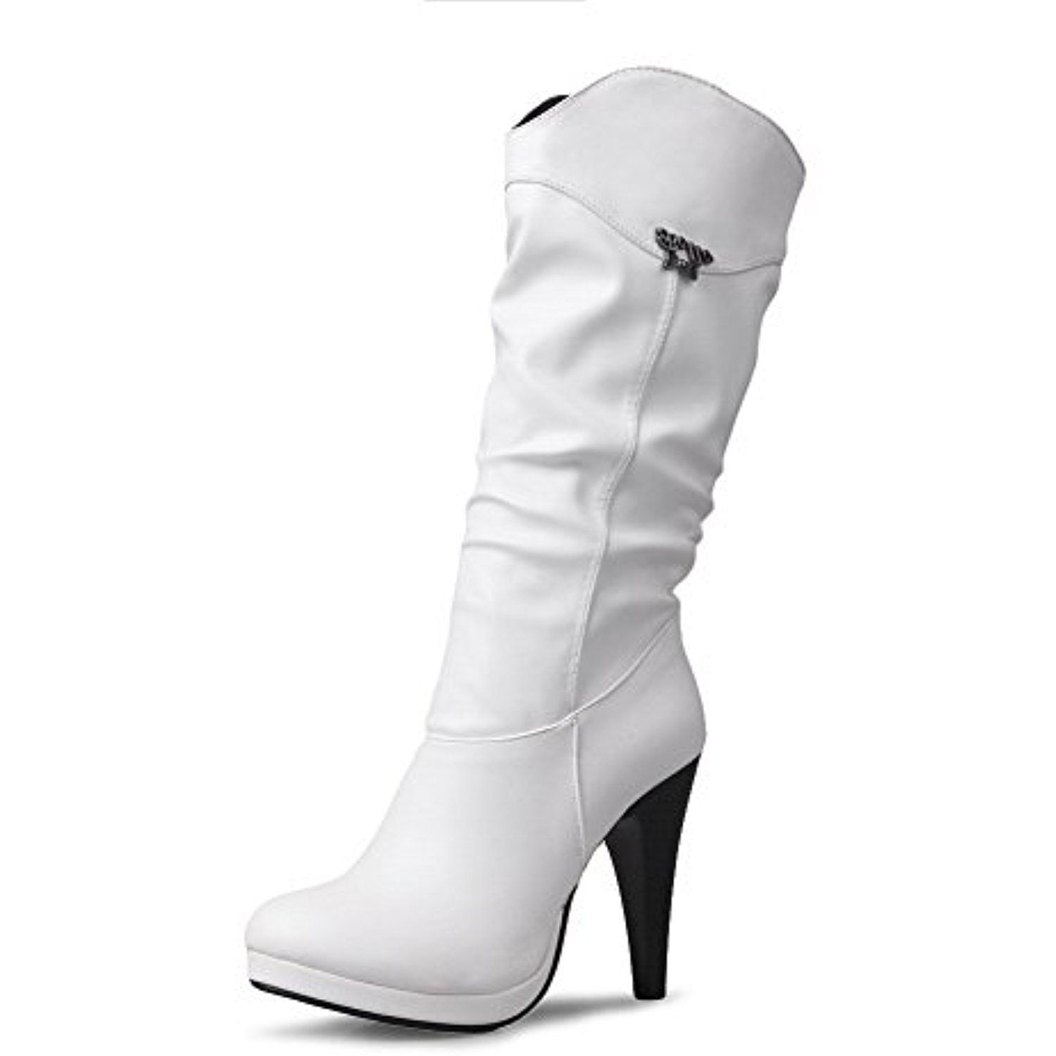 Women's Solid High-Heels Round Closed Toe PU Pull-On Boots