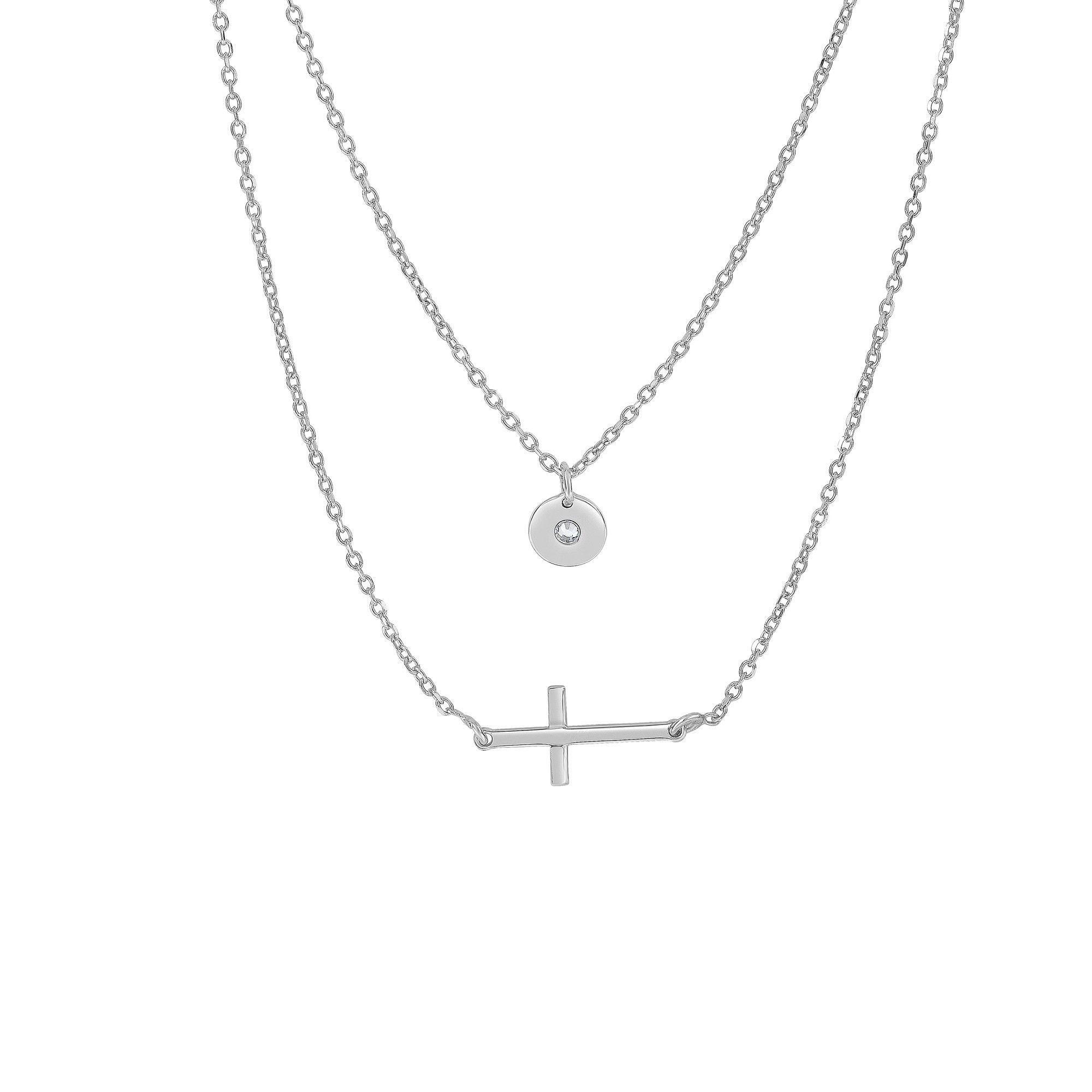 Rhodium Hanging Round Disc Sideways Cross Double Strand Graduated Necklace