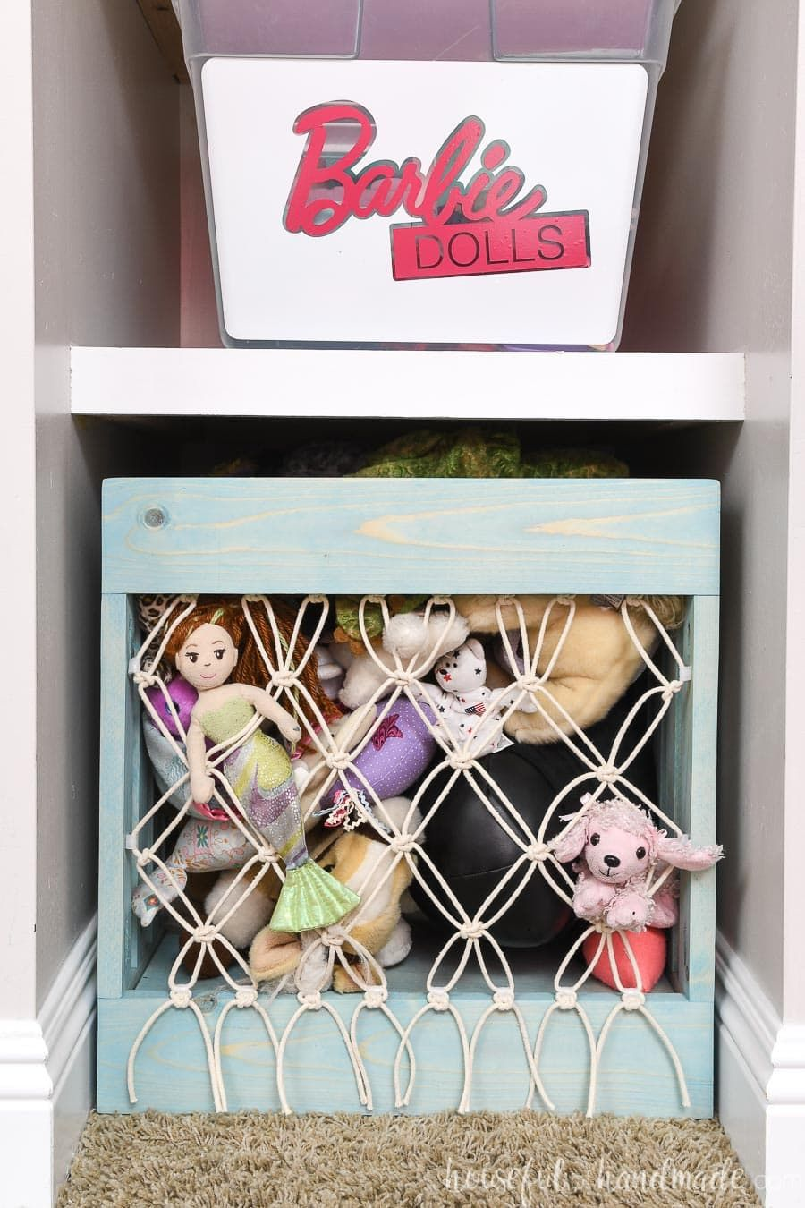 Diy Stuffed Animal Storage Bin With Macrame Net In 2020 Stuffed Animal Storage Diy Stuffed Animals Toy Storage