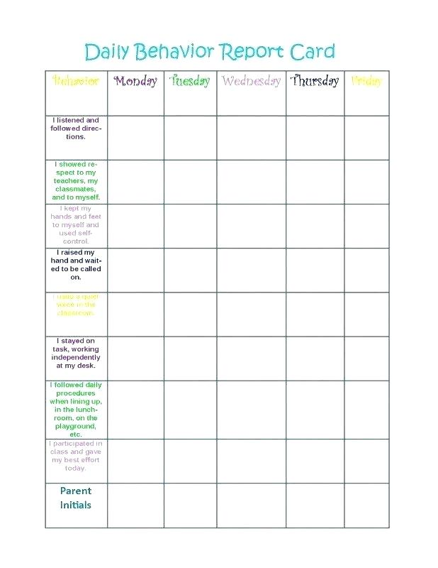 Daily Behavior Report Card Template from i.pinimg.com