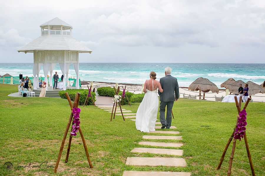 Bridal Entrance At The Paradisus Cancun Hotel Cloudy Day Gorgeous Ocean View White Gazebo Destination Weddings Wedding Photography