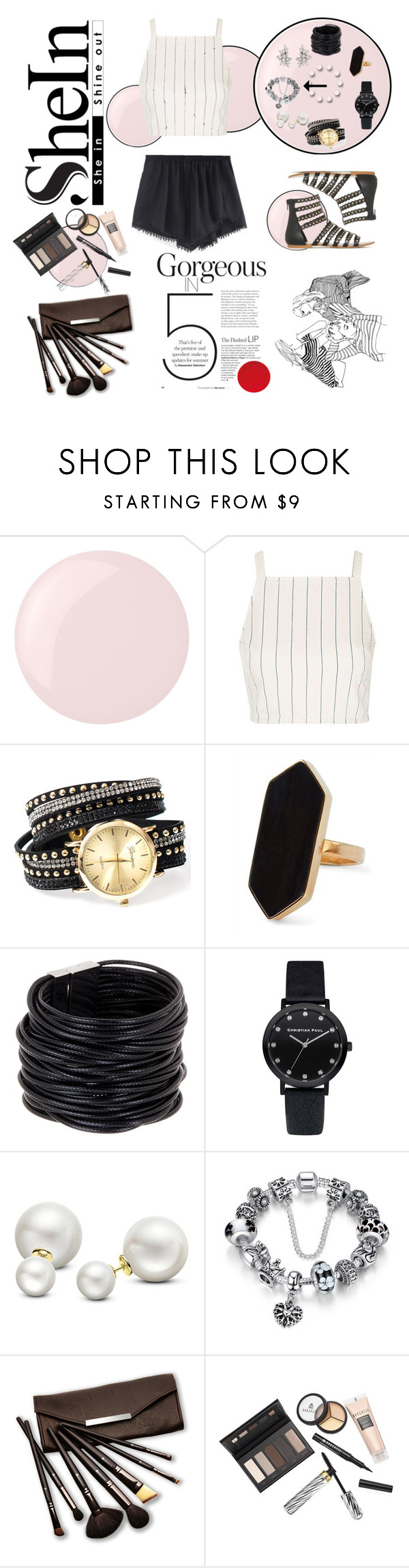 """PomPomShorts"" by prettypink-vp ❤ liked on Polyvore featuring Essie, Topshop, Jaeger, Saachi, Allurez and Borghese"