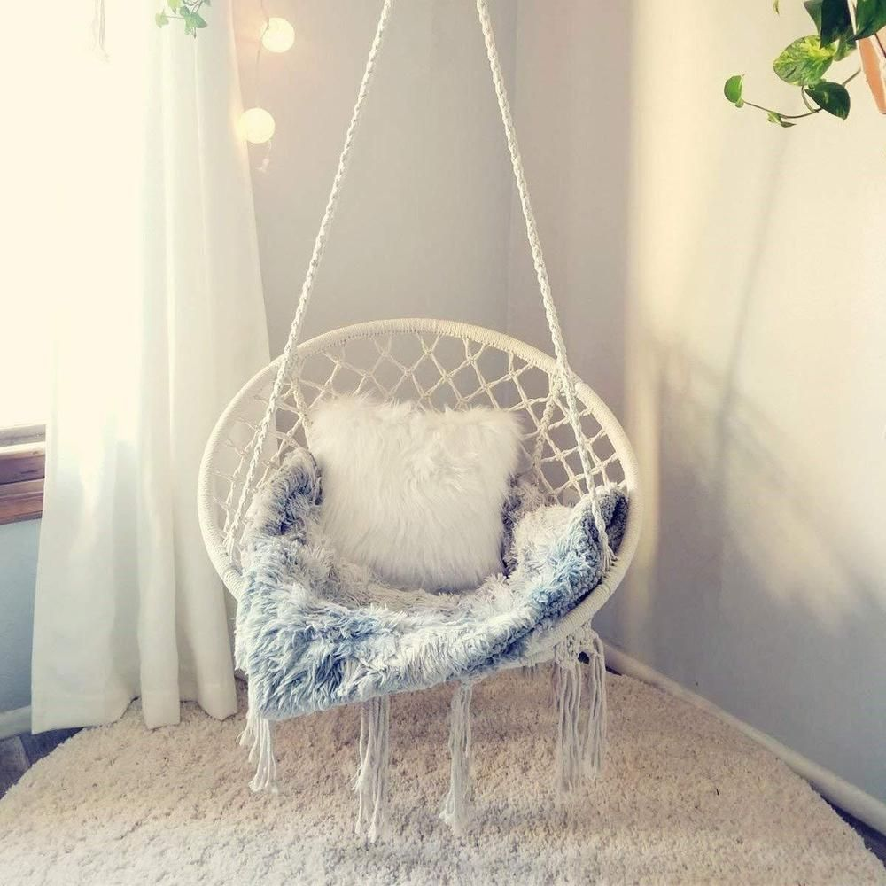Hanging Hammock Chair Swing Indoor Outdoor Home Garden Porch Yard Balcony Patio Bedroom Swing Swing Chair Bedroom Cozy Room Decor