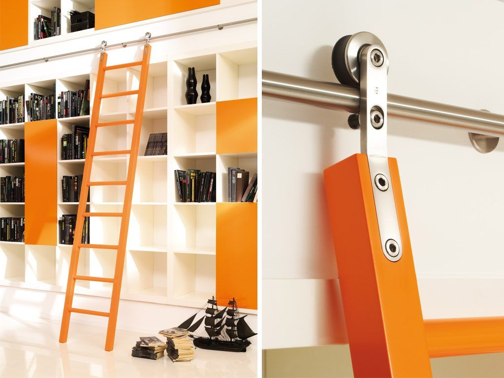 Hardware and wooden ladder frames for the library