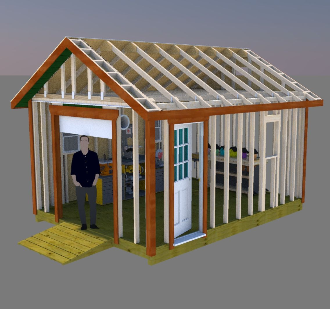 12x16 12x16 Gable Storage Shed Plans With Roll Up Shed Door Sheds