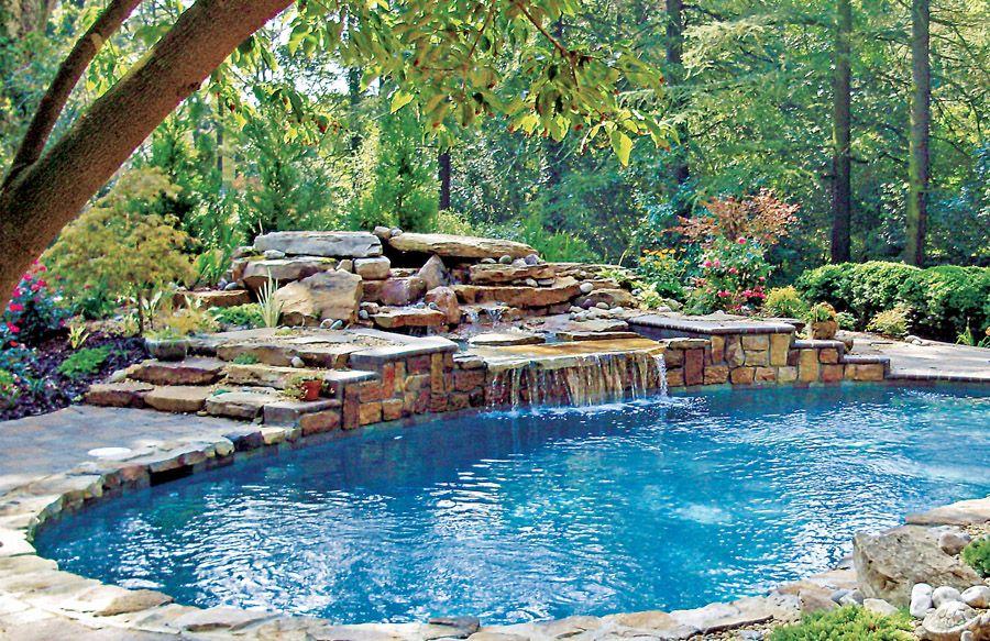 Rock Waterfalls Blue Haven Custom Swimming Pool And Spa Builders Luxury Swimming Pools Pool Waterfall Pool Landscaping