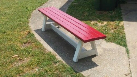 Farm Style Bench Made From Recycled Pallets Painted Red And White