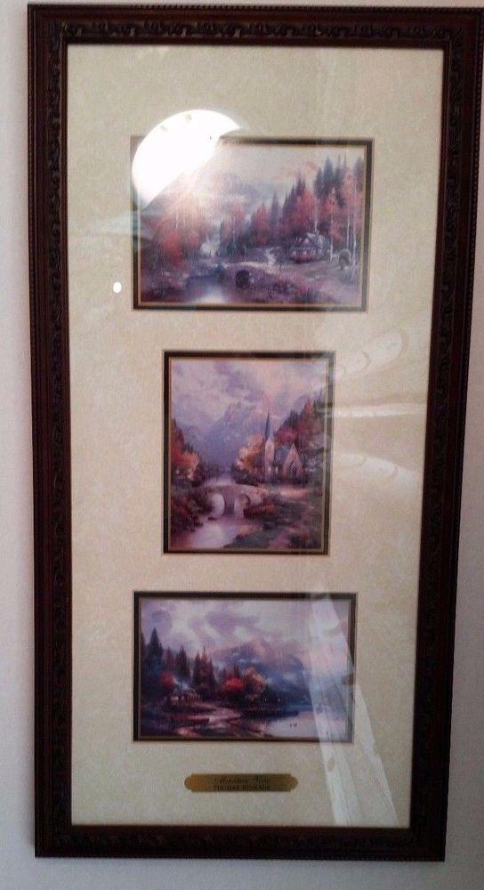Thomas Kinkade Accent Prints Framed Art Mountain Vistas COA In Glass ...