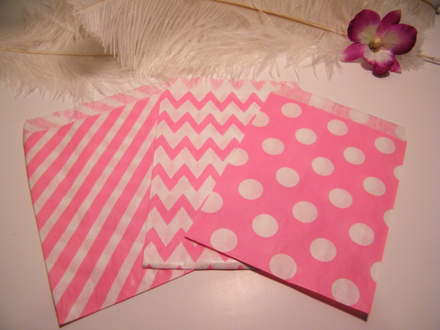 Hot Pink Candy Bags / Candy Buffet Bar paper Bags / Stripes - Polka ...