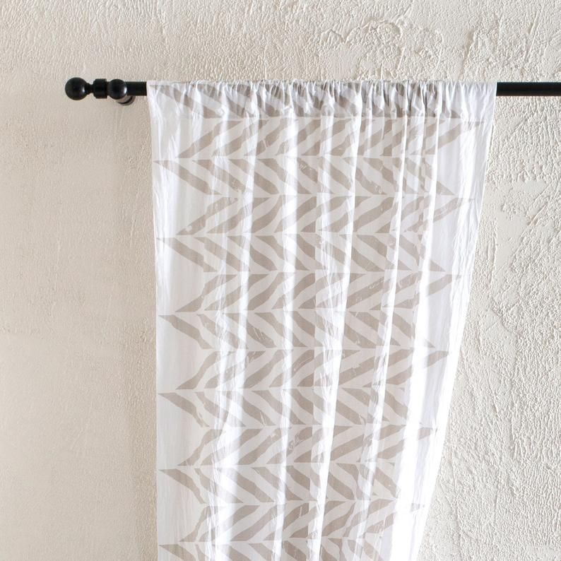 Linen Window Curtains Zig Zag Printed Curtain Panels Rod Pocket