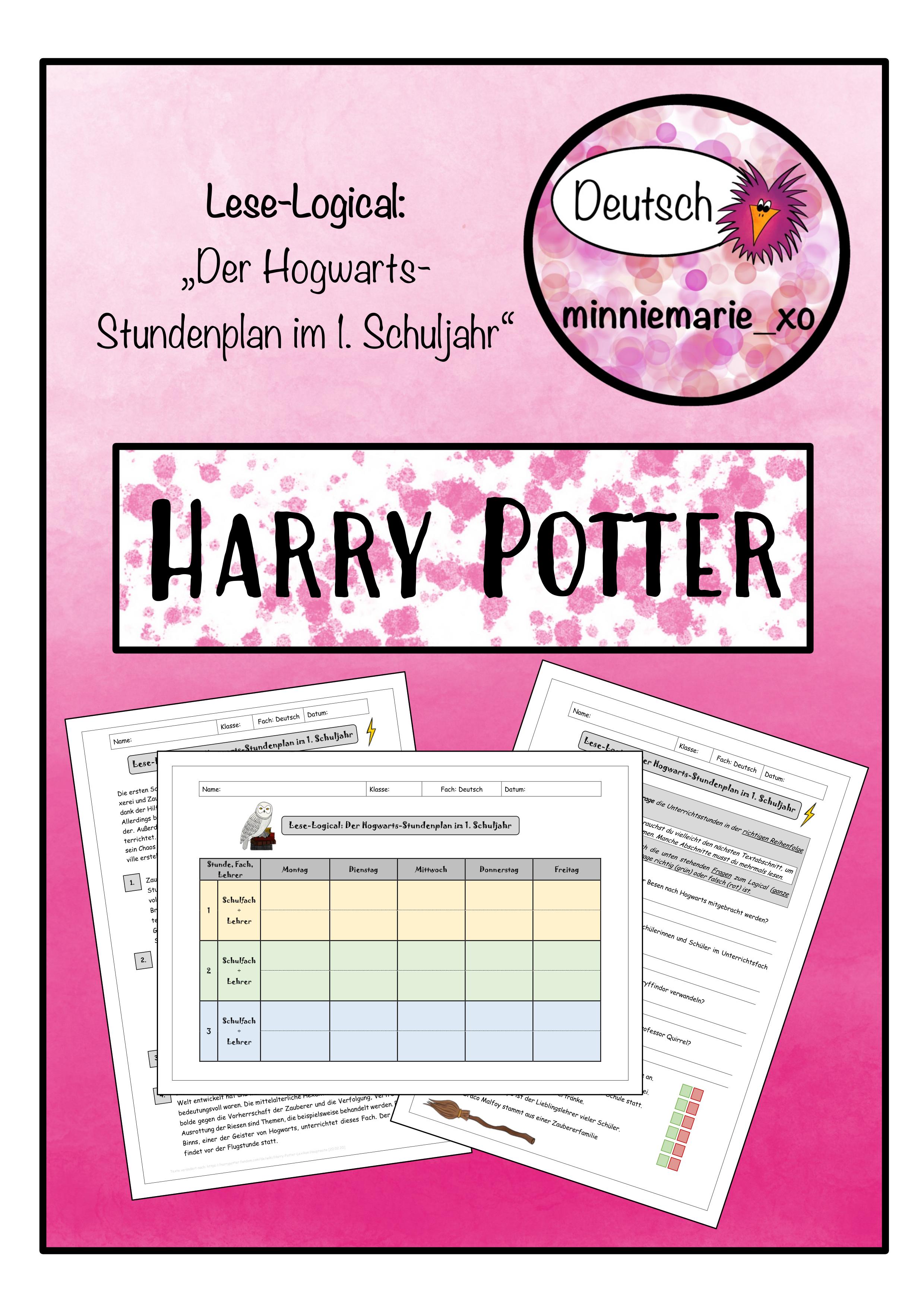 Logical Harry Potter Stundenplan Im 1 Schuljahr Unterrichtsmaterial Im Fach Fachubergreifendes Stundenplan Schule Unterrichtsmaterial