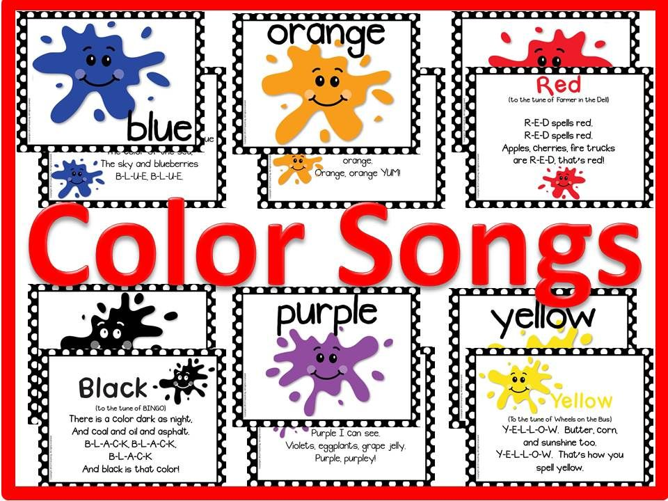 Colors display for classroom that includes songs to help