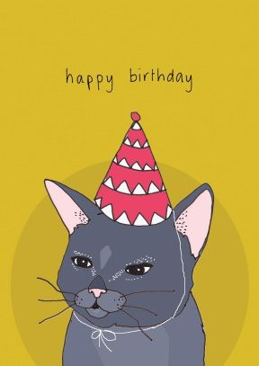Cat hat birthday card ss1009 animal greeting cards cat hat birthday card ss1009 bookmarktalkfo Choice Image