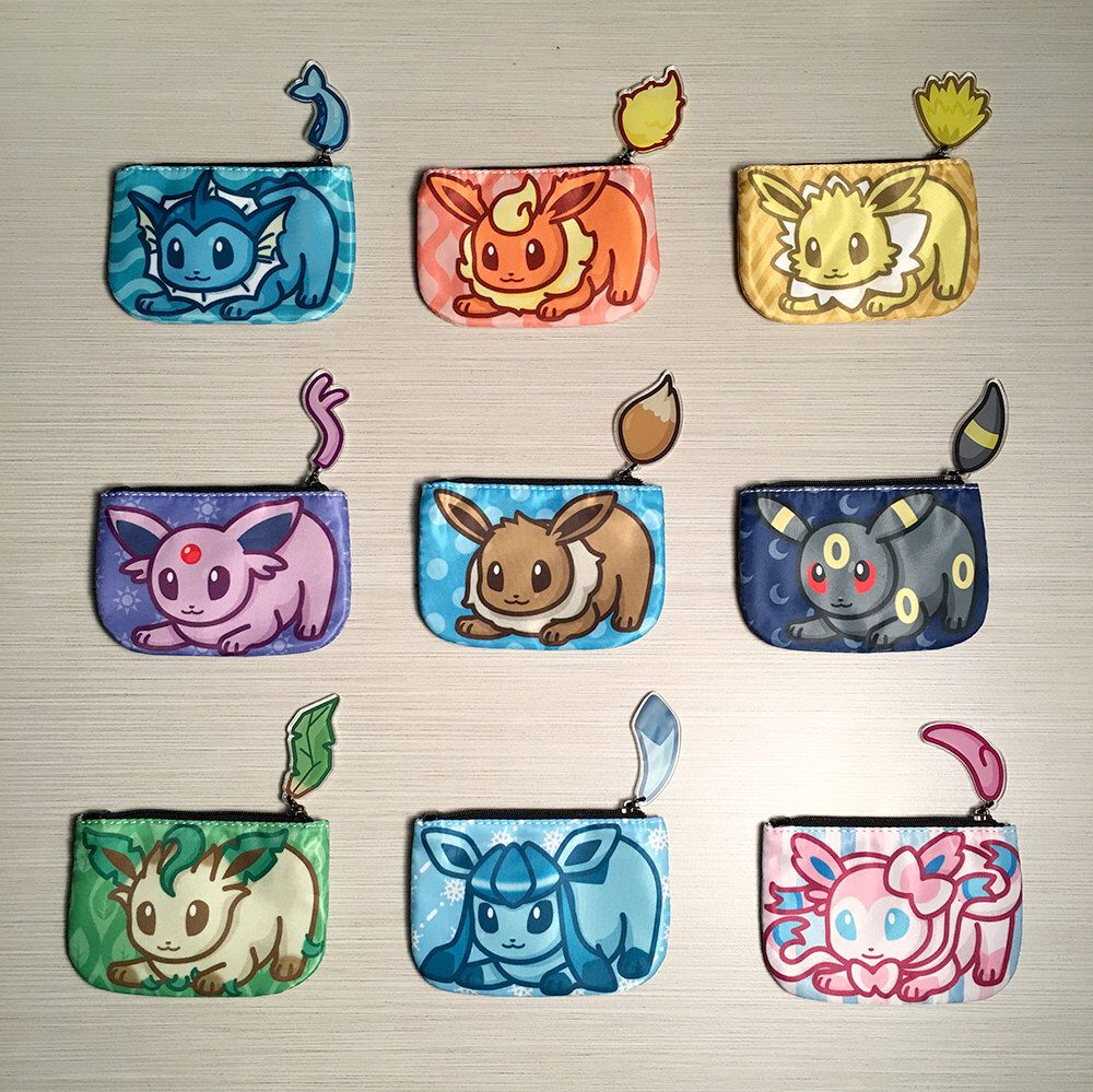 Pokemon eeveelution coin purses with tails eevee vaporeon flareon