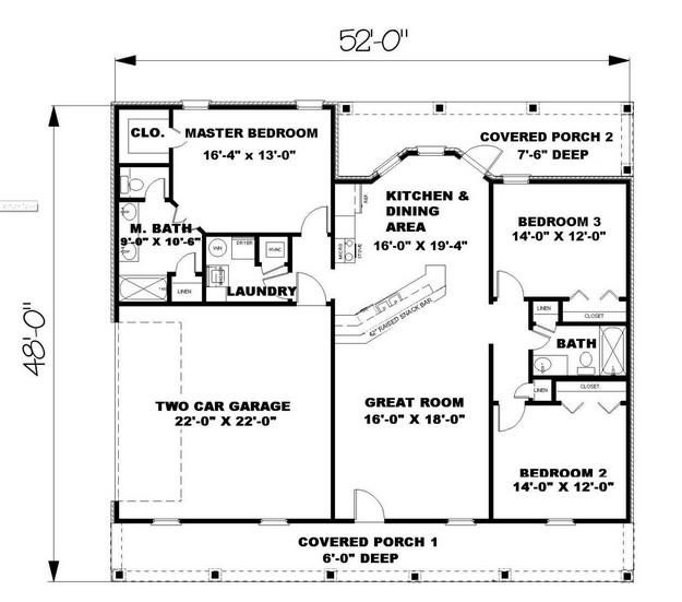House Plan 1776 00022 Ranch Plan 1 500 Square Feet 3 Bedrooms 2 Bathrooms 1500 Sq Ft House Simple House Plans Ranch Style House Plans