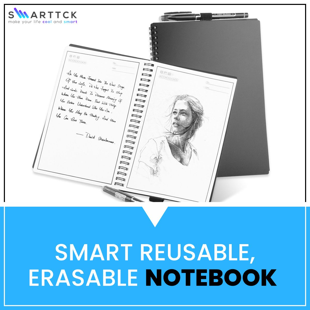Smart Reusable ,Erasable Notebook For School & Office With
