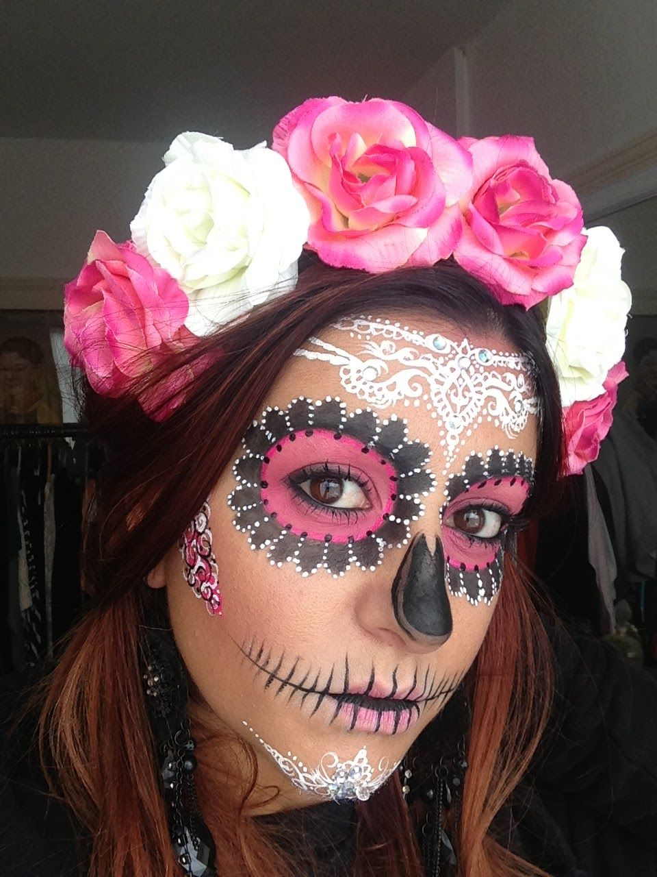 Crown brush sugar skull make up tutorial by annabella lingis incredible lace sugar skull make for dia de los muertos use the tutorial or try real lace as a stencil and an airbrush 20 day of the dead makeup ideas baditri Images