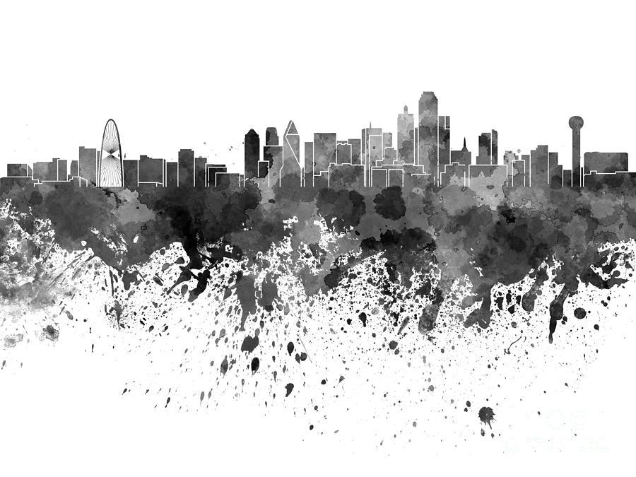 Dallas Skyline In Black Watercolor On White Background By Pablo Romero Skyline Painting Dallas Skyline Monochrome Color