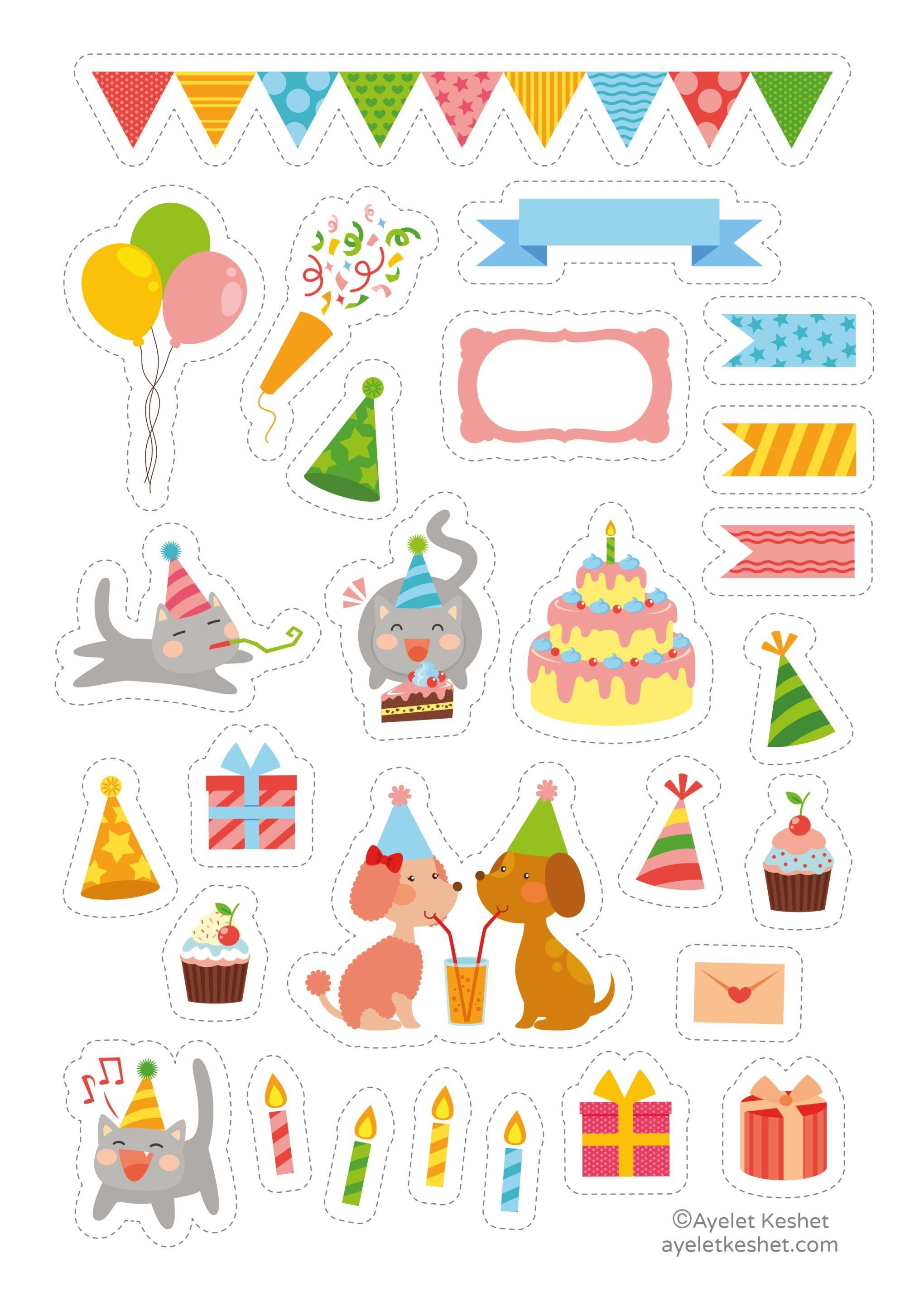Free cute printable stickers for birthday. Print the high