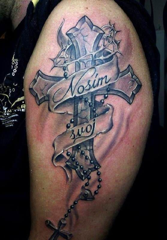 tattoo cross with scripture upper arm tattoo tattooed. Black Bedroom Furniture Sets. Home Design Ideas