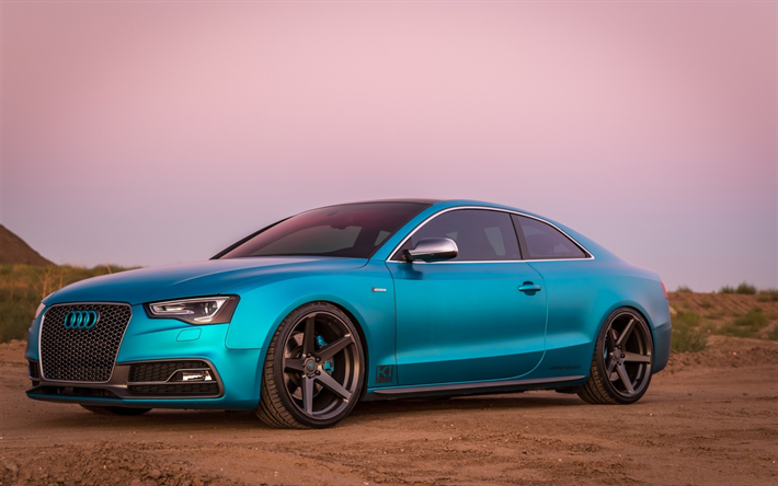 Download Wallpapers Audi A5 Sports Coupe Blue Matte A5 Tuning A5