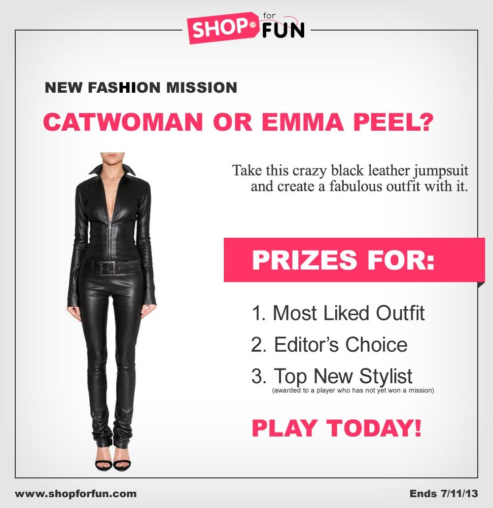 Catwoman or Emma Peel? Using this jumpsuit, create a sleek, cool, superheroic look #outfit #fashion #contest