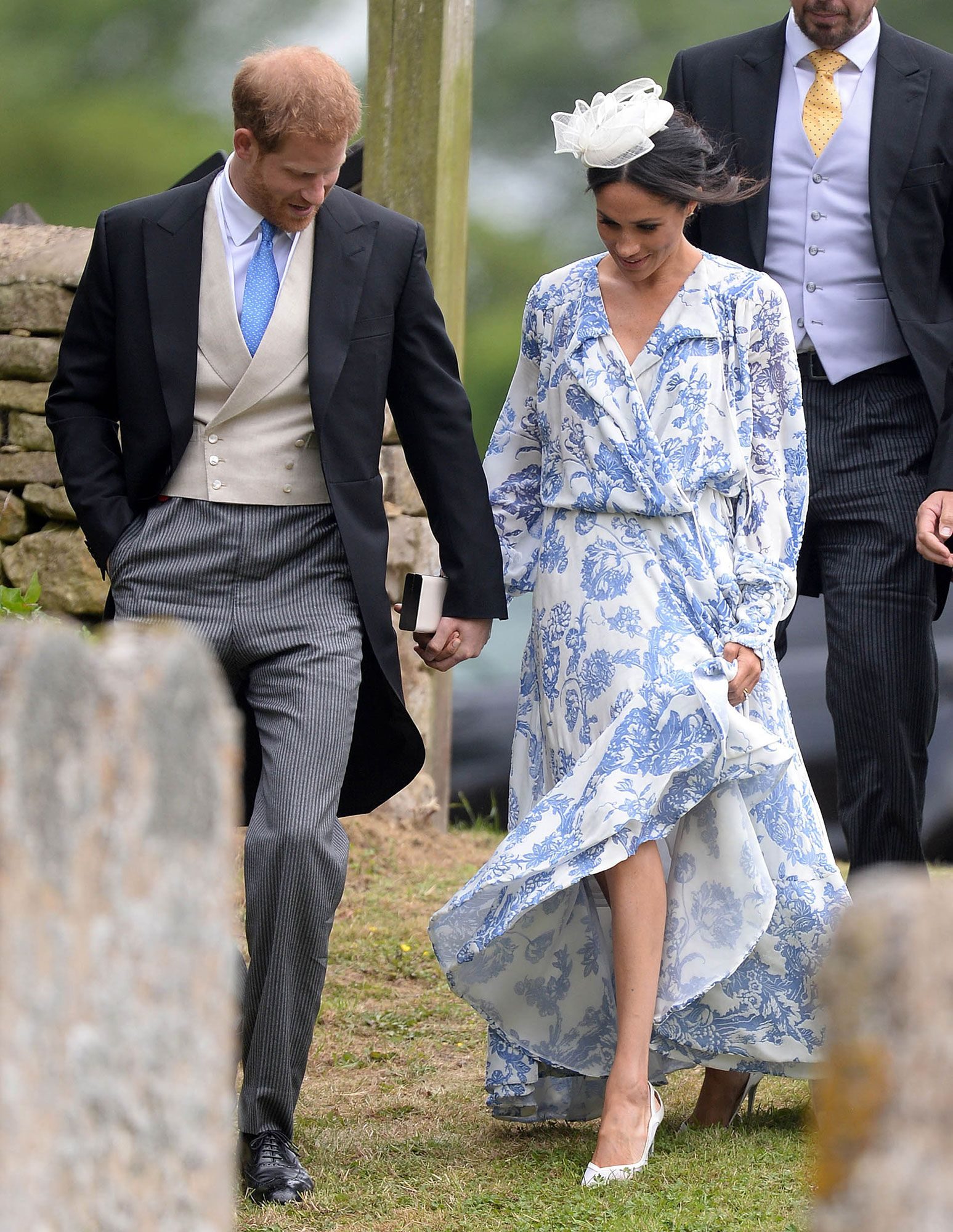 75b5a87dd54 Meghan Markle Goes Floral   Coordinates with Prince Harry at Wedding of  Princess Diana s Niece
