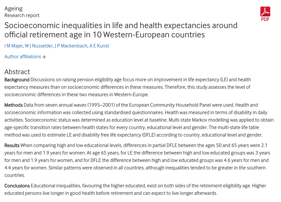 Majer I M W J Nusselder J P Mackenbach And A E Kunst 2011 Socioeconomic Inequalities In Life And Health Inequality Retirement Age European Countries