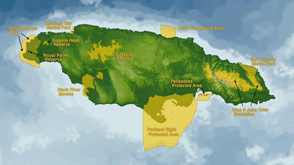 Map showing the major protected areas and nature reserves of Jamaica ...