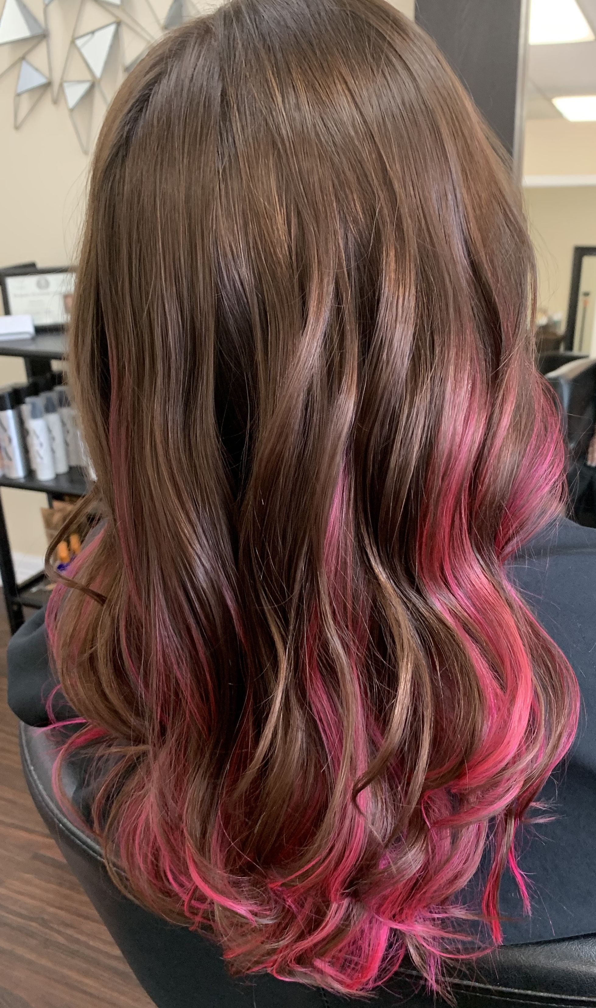 Hot Pink Peek A Boo Highlights Pink Hair Highlights Hair Highlights Pink Hair Streaks