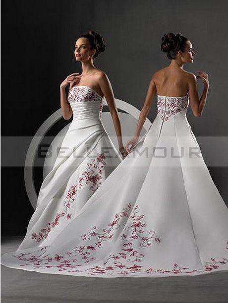 Robe de mariage blanche et rouge