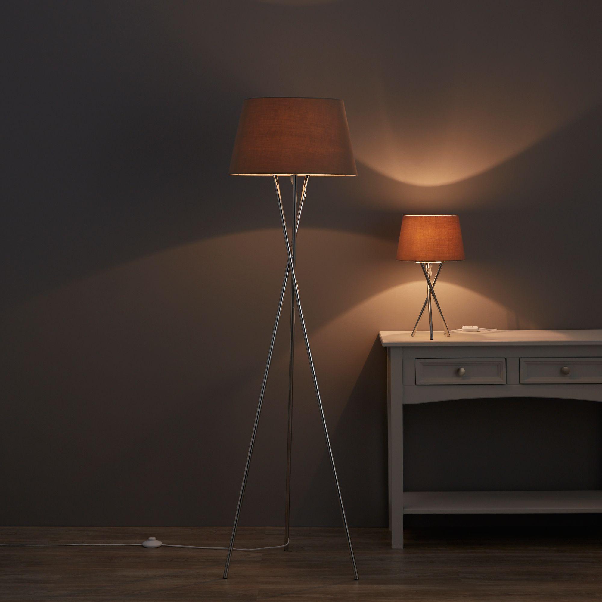 Jake Tripod Chrome Floor & Table Lamp Set B&Q for all