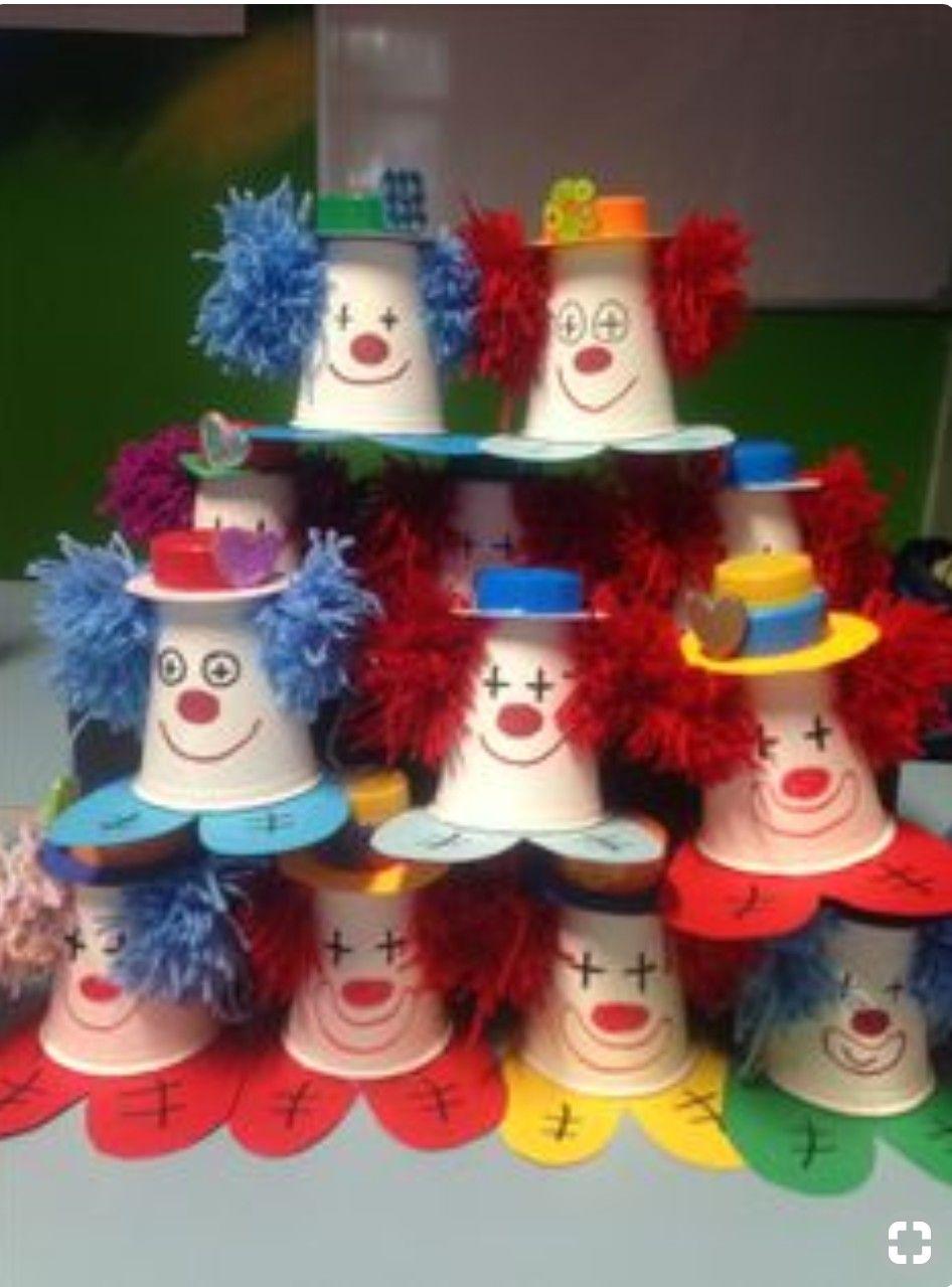 Clown Cups For The Letter C Karneval Basteln Kindern