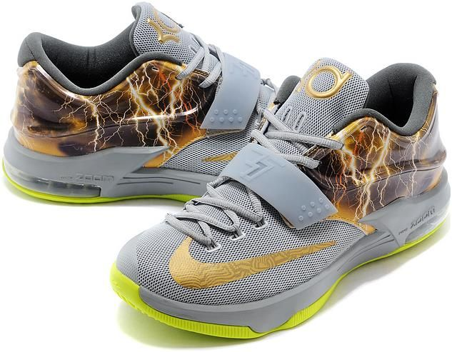 check out dd2b8 85c0e Nike KD 7 Struck By Lightning Grey Custom Shoes0