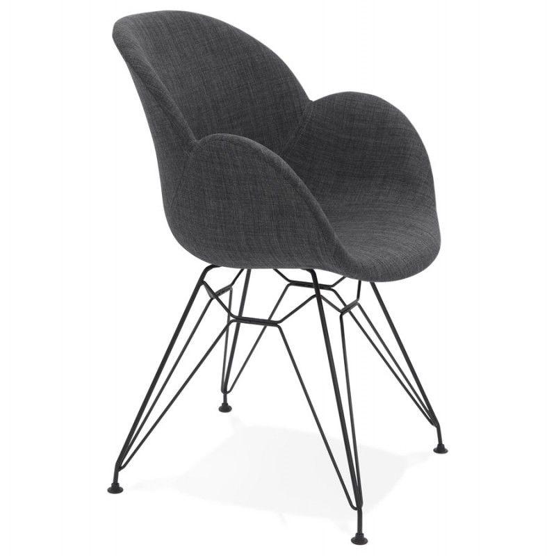 Chaise Design Style Industriel Tom En Tissu Pied Metal Noir Gris Fonce Fauteuil Design Fauteuil Design Confortable Chaise Design