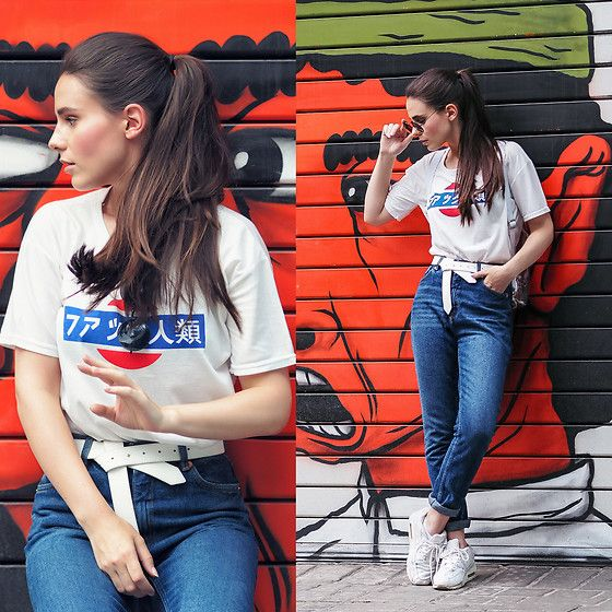 Get this look: http://lb.nu/look/8324711  More looks by Yana P: http://lb.nu/ahandfulofstories  Items in this look:  Monki Jeans, T Shirt, Sneakers   #casual #sporty #street