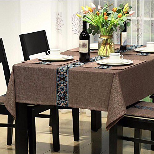 Wfljl Modern Simplicity Tablecloth Cotton Linen Dining Table