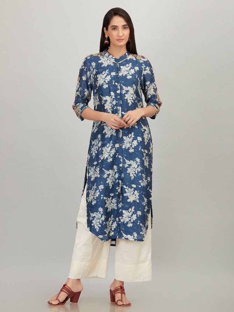 Blue Printed   Embroidered Cotton Silk Kurta with Off White Chanderi Silk  Palazzo - Set of 2 e7811fa085