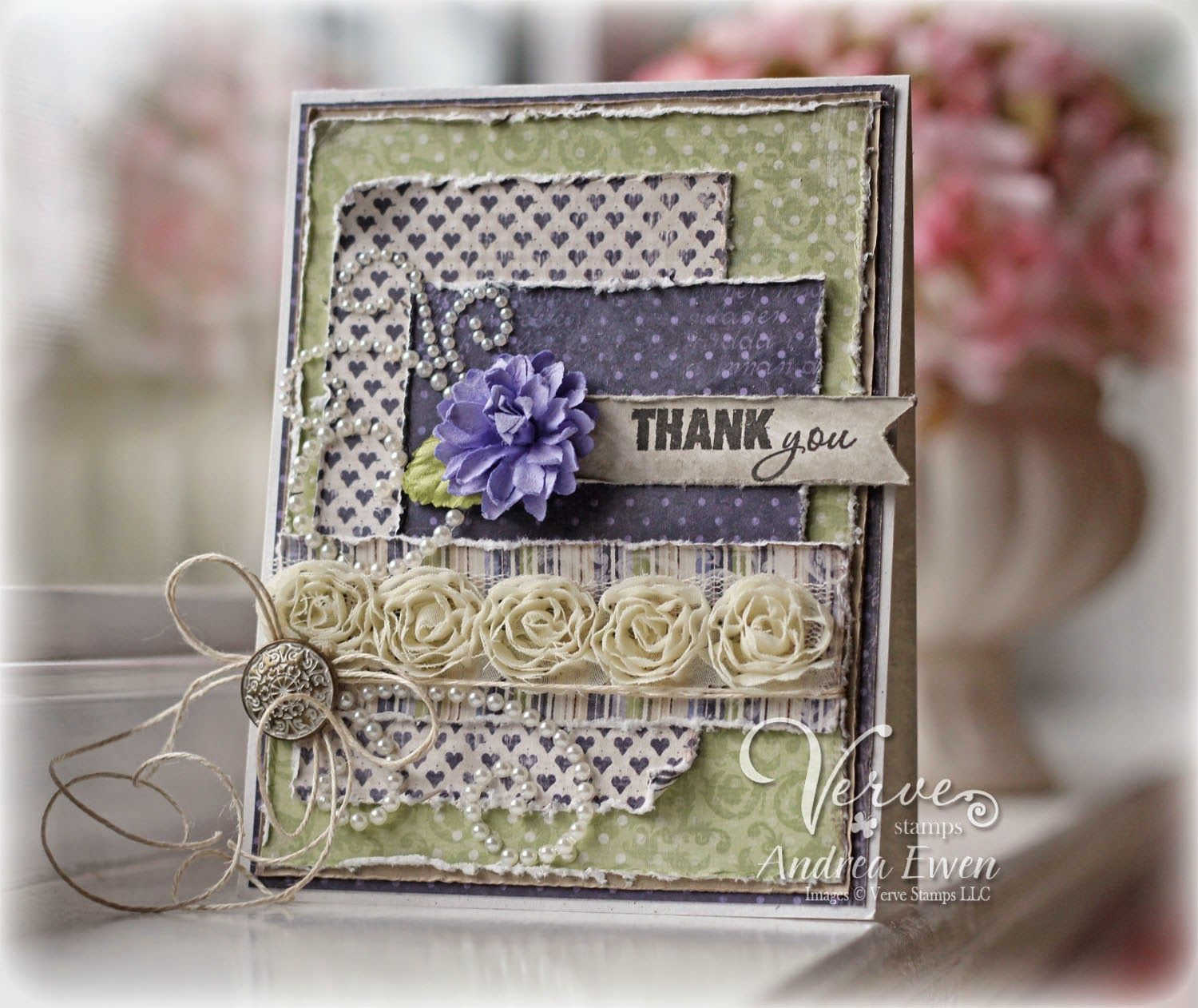 Card by Andrea Ewen using Celebration of Thanks from Verve. #vervestamps