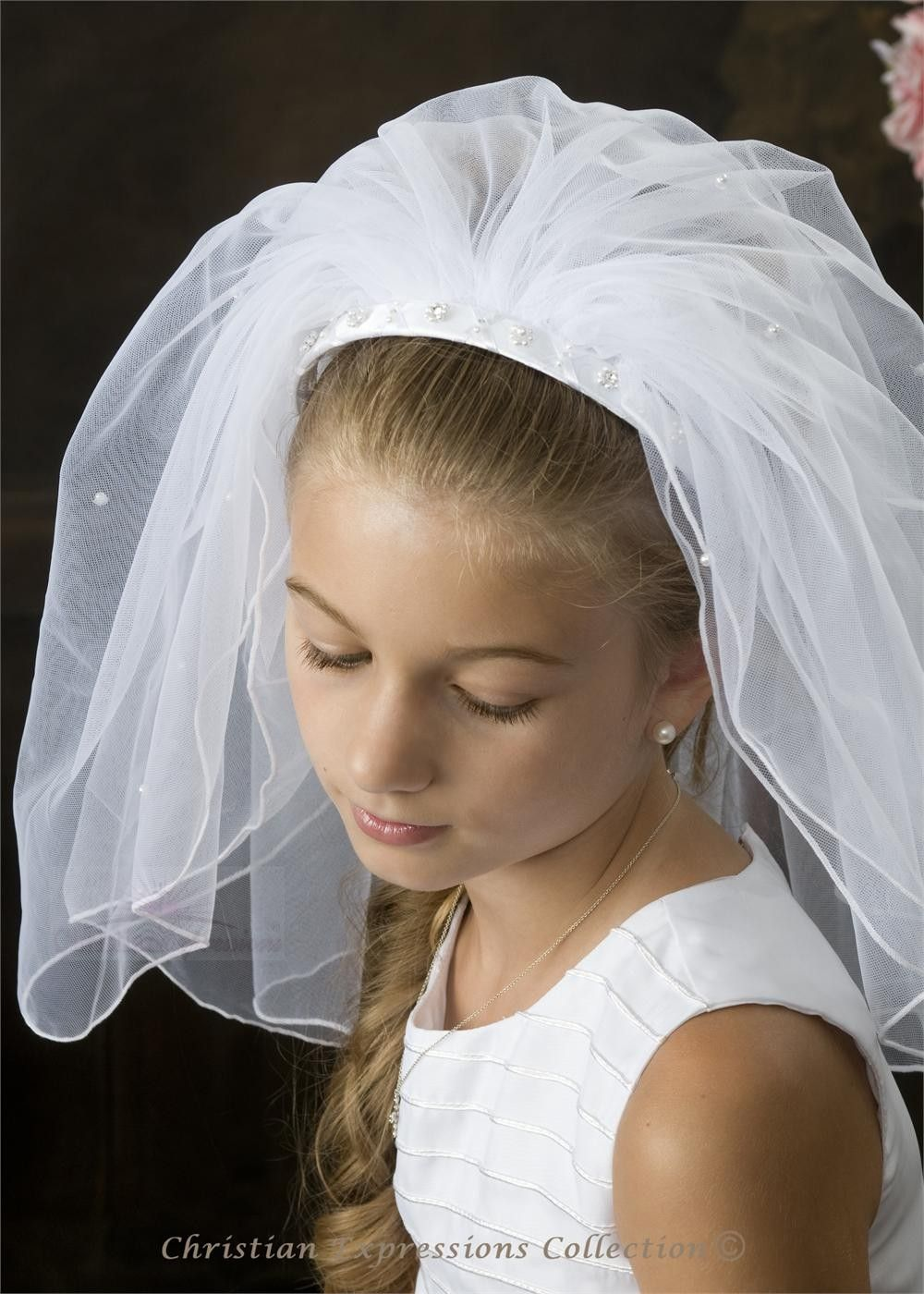 First communion pearl braided headband veil4360