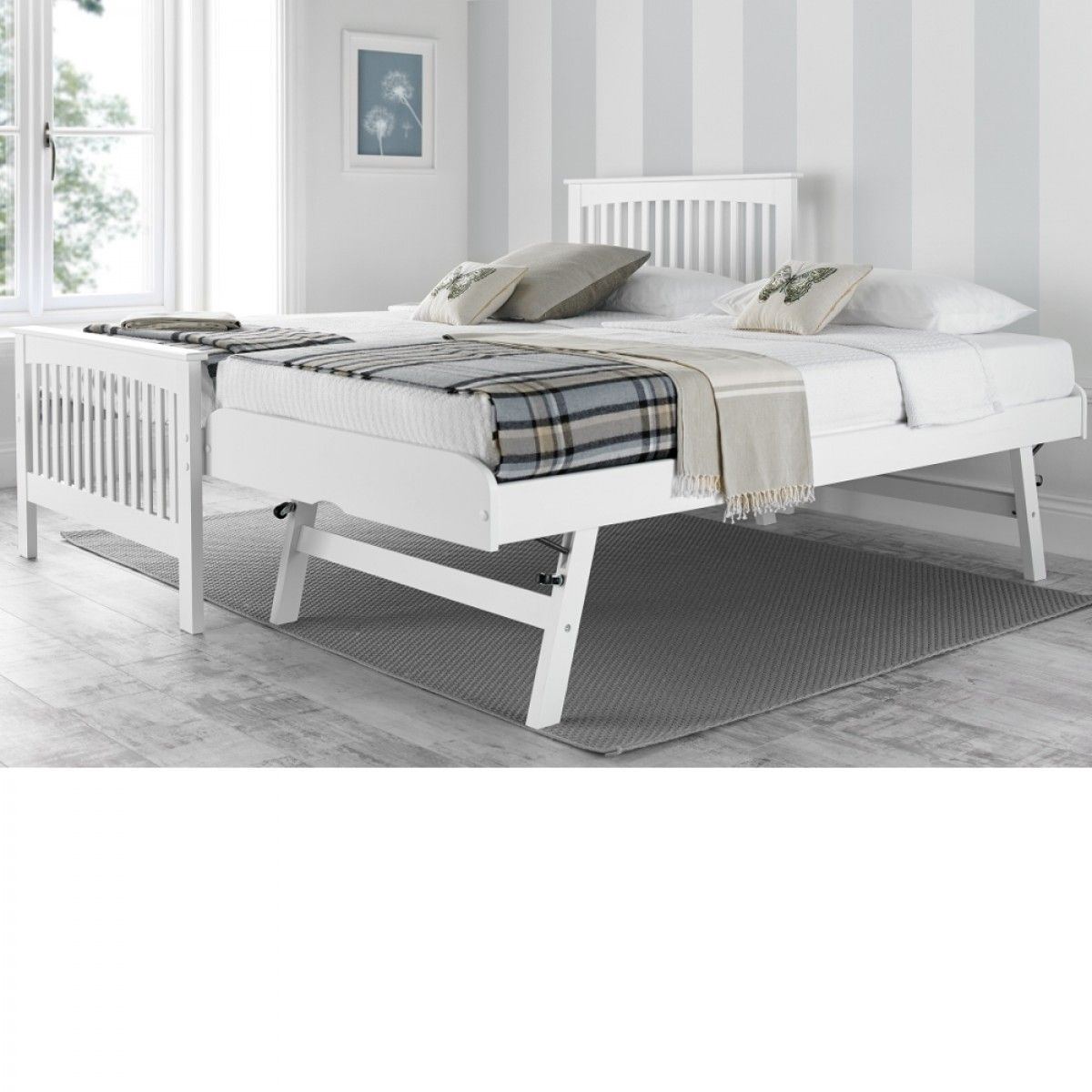 Toronto White Wooden Guest Bed Frame And Trundle 3ft Single
