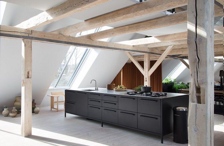 Case Moderne Interni Cucina In Metallo Di Colore Nero Al Centro