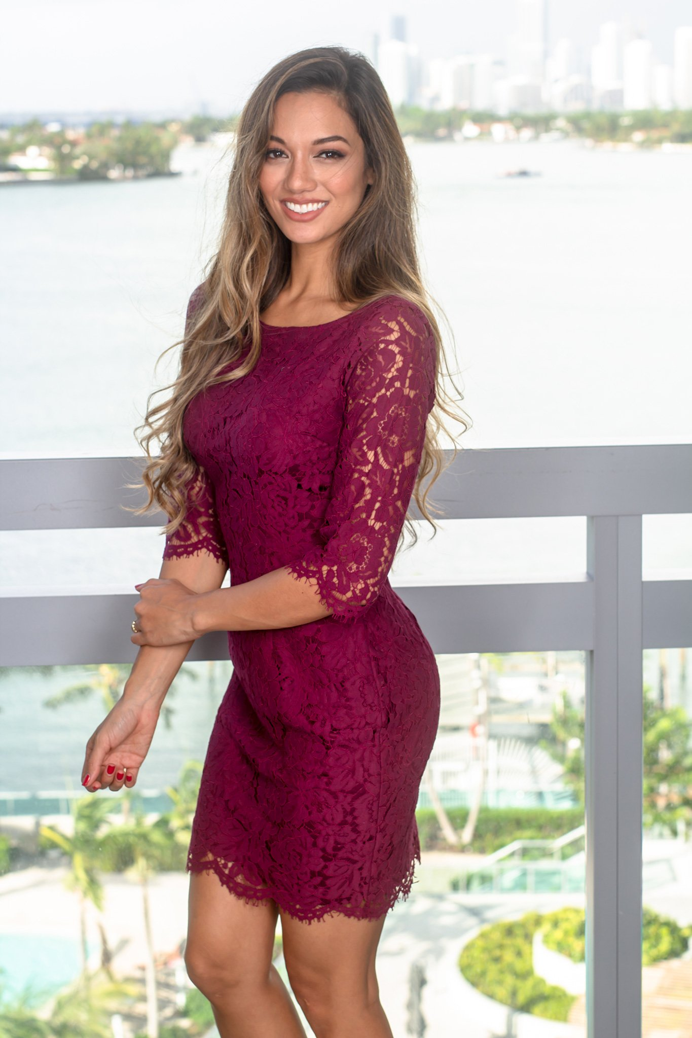 e6b33fa5cf Burgundy Lace Short Dress with 3/4 Sleeves | Short Dresses – Saved by the  Dress