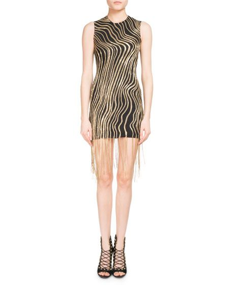 8aa941c6 BALMAIN Metallic Chain Fringe Mini Cocktail Dress, Black/Gold. #balmain  #cloth #